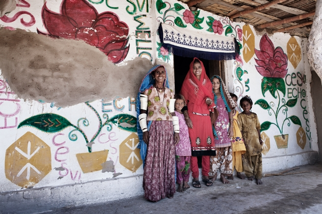 A Cesvi shelter decorated by Umro, the beneficiary's son. Nusrat-a-Abad, Sindh, Paskistan, 2013. Ph Laura Salvinelli.