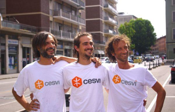 Il team il giorno della partenza: da sinistra Giovanni (Moto), Erik (Muto) e Giacomo (Mato).