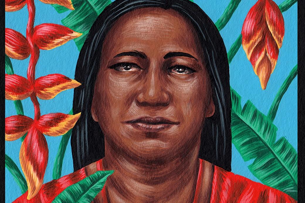 Un particolare dell'opera di Saddo che rappresenta Nadia.